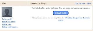 não consegui criar blog no blogger
