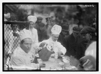 "Coffee being served to a ""soup"" line. From the Library of Congress."