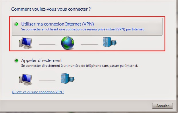 Utiliser ma connexion Internet (VPN)