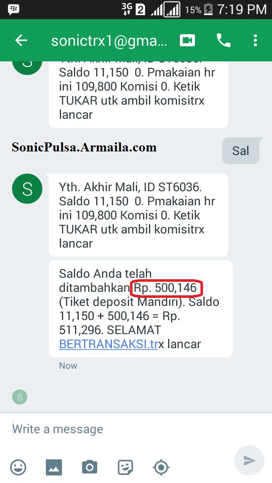 Saldo ditambahkan 500.146