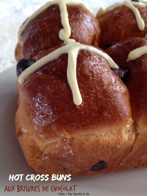 Hot cross buns aux brisures de chocolat - Miam ! Des biscuits