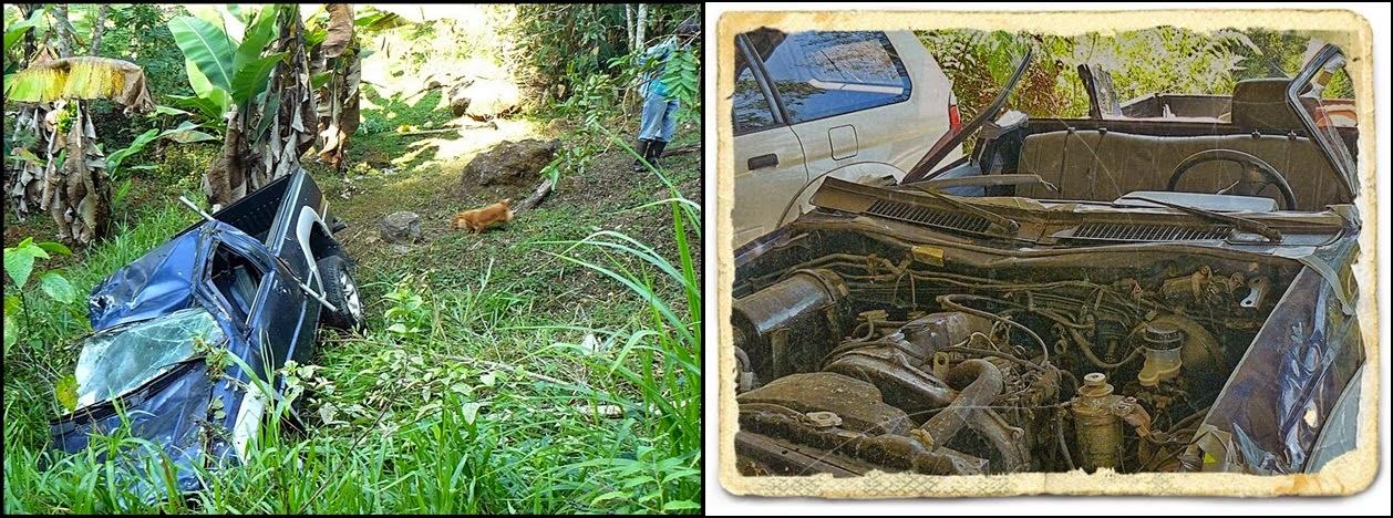 wrecked mitsubishi truck