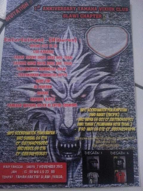 Undangan Anniversary 1th Yamaha Vixion Club Indonesia