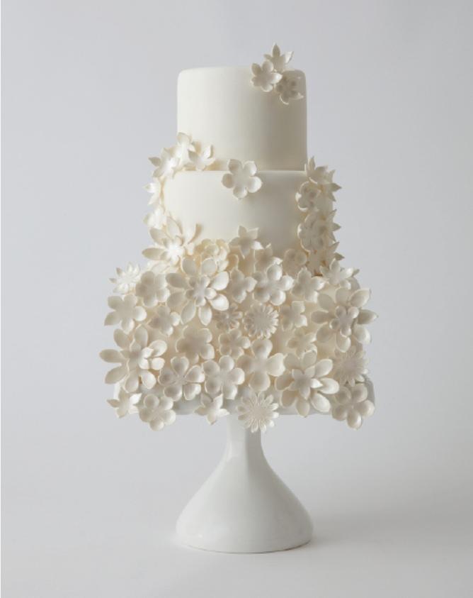 White flowery wedding cake by Lulu Cakes