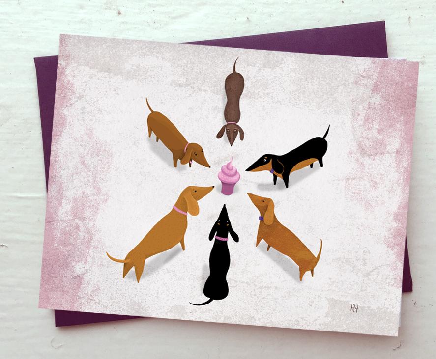 Heidi Younger Illustration Dachshund Birthday Cards Available