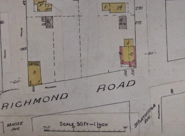 Goad's Fire Insurance Plan of Ottawa, 1922. Showing the north side of Richmond Road between Athlone (Magee) at left and Tweedsmuir (Strathcona) at right. The Larkin home is shown as #514/516 Richmond Road, wood frame (yellow colour), with brick veneer (pink). The dotted line again appears, indicating a partition within the house, perhaps originally constructed to be 2 semi-detached residences.