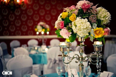 Pink, yellow, white, centerpiece, candelabra, crystals, Isha Foss Events
