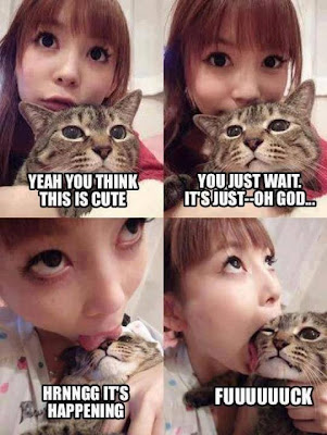 Asian chick eating raw cat