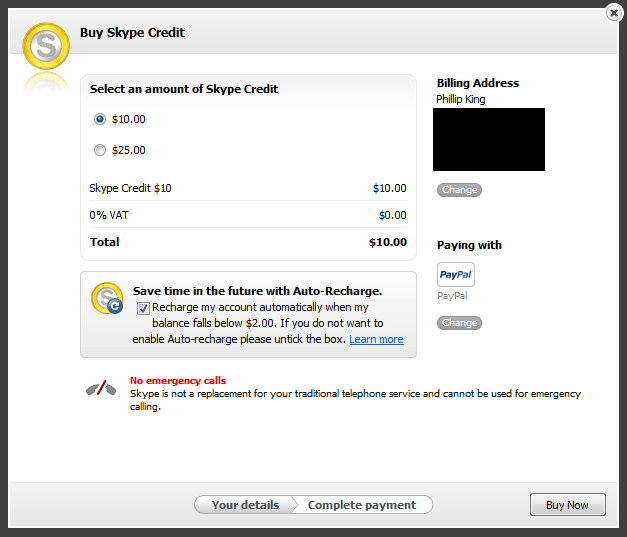 Choose the amount of Skype Credit you'd like to buy, then select Continue. Select if you want to enable Auto-recharge on your account. Select your billing country and payment method from the drop-down lists. If you've paid for Skype products before and saved your payment method.