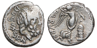 A silver quinarius of L. Rubrius Dossenus, Roman Republic, 87 BCE