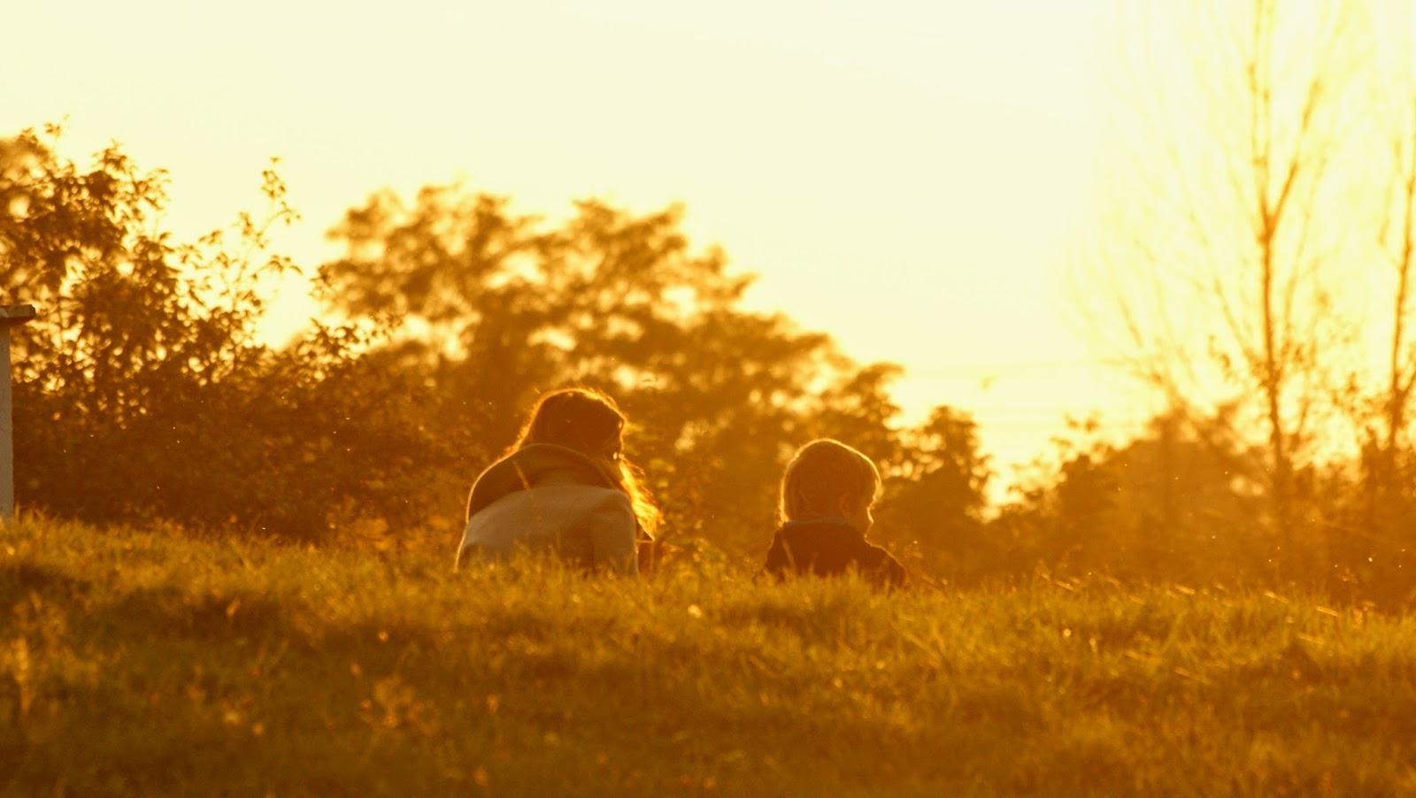sunset children zachód słońca mimozami jesień się zaczyna