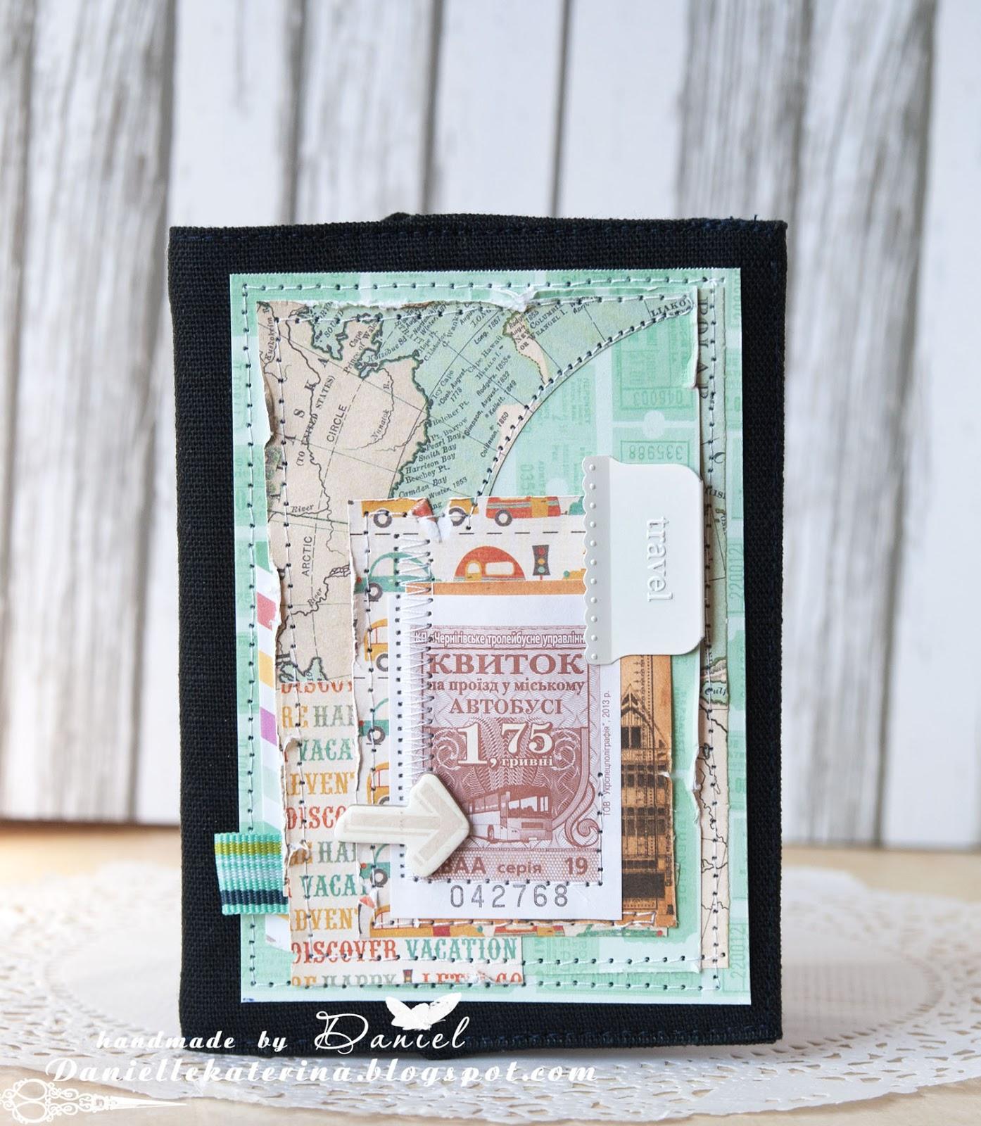 обложка на паспорт+скрапбукинг+ткань