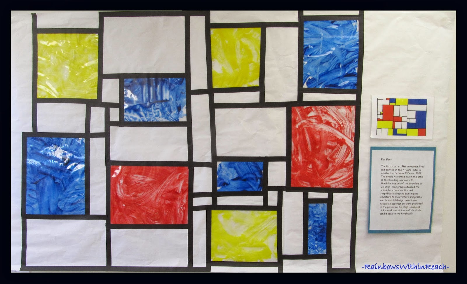 Mondrian Collaborative Painting in Early Preschool via RainbowsWithinReach