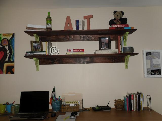 Custom shelves hung on the wall