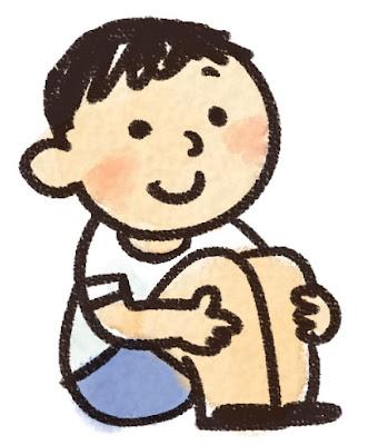 体育座りのイラスト「男の子」