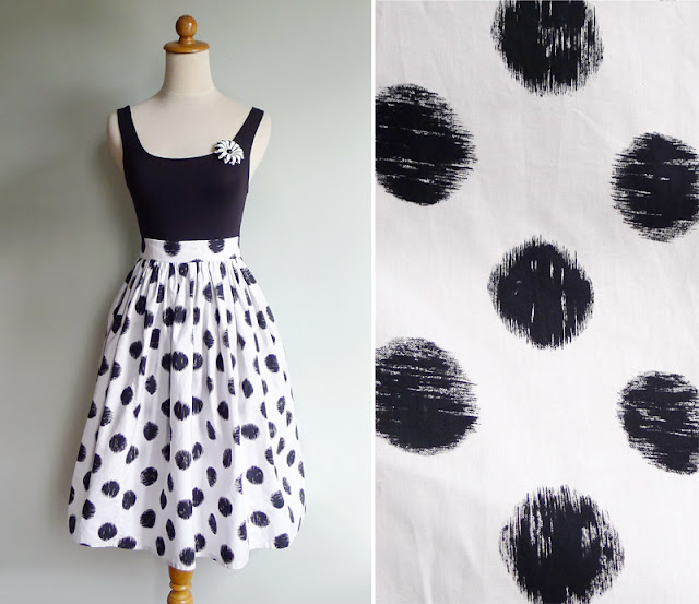 vintage white & black cotton skirt