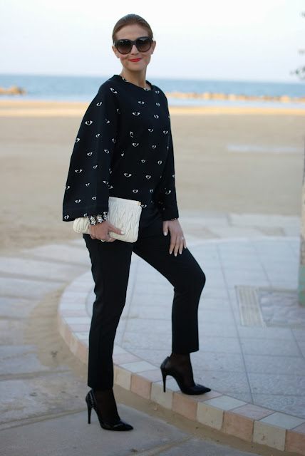Kenzo eye print kimono sweatshirt, felpa occhio Kenzo, Miu Miu clutch, Dolce & Gabbana sunglasses, Fashion and Cookies, fashion blogger