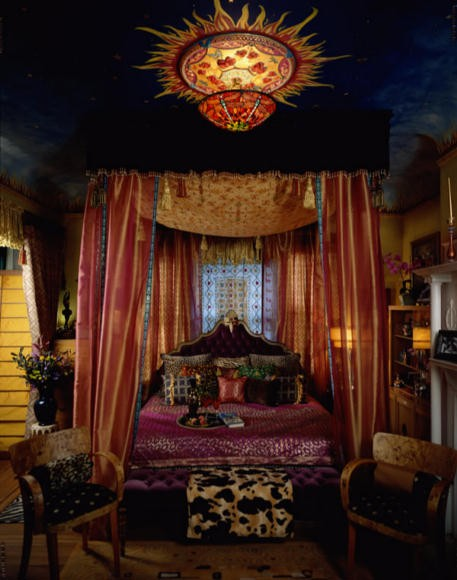 Great idea for a Gypsy style dining room. Tent the ceiling with ...