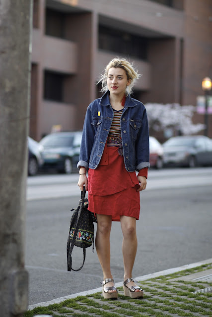 Sophia Watson layering seattle street style it's my darlin' jean jacket