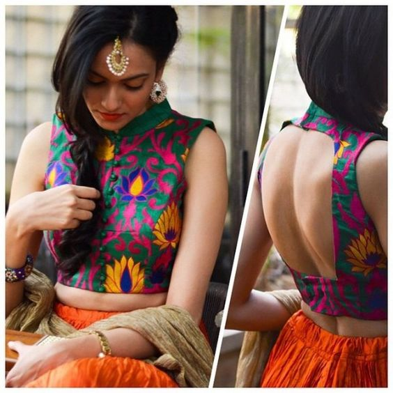 sexy saree blouse back