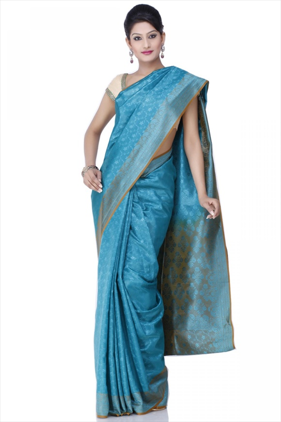 Sea Green Polyester Banarasi Saree