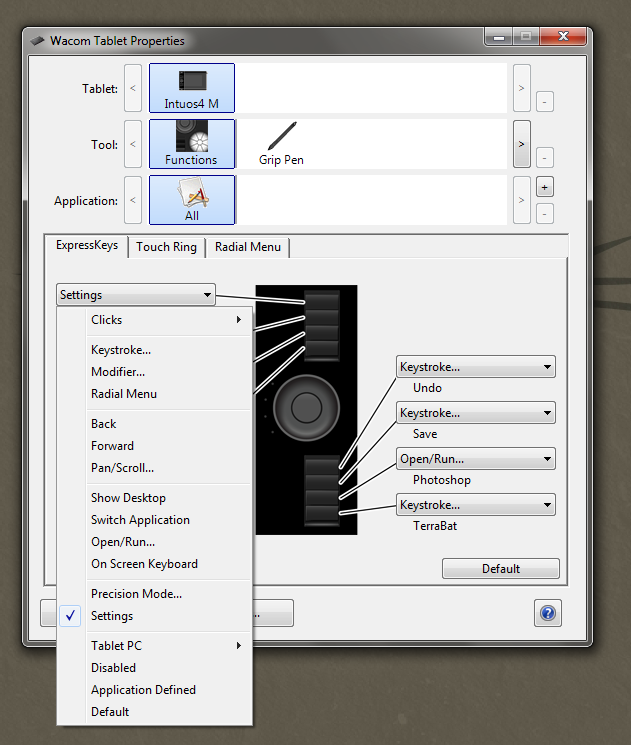 how to change intuos express keys