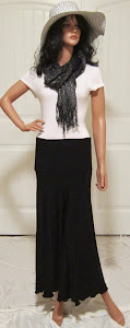 Ladies Classic black stretch knit jersey maxi skirt
