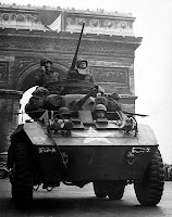 Allied tanks entering liberated Paris during World War II