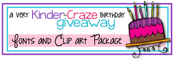 Fonts and Clip Art GIVEAWAY at Kinder-Craze