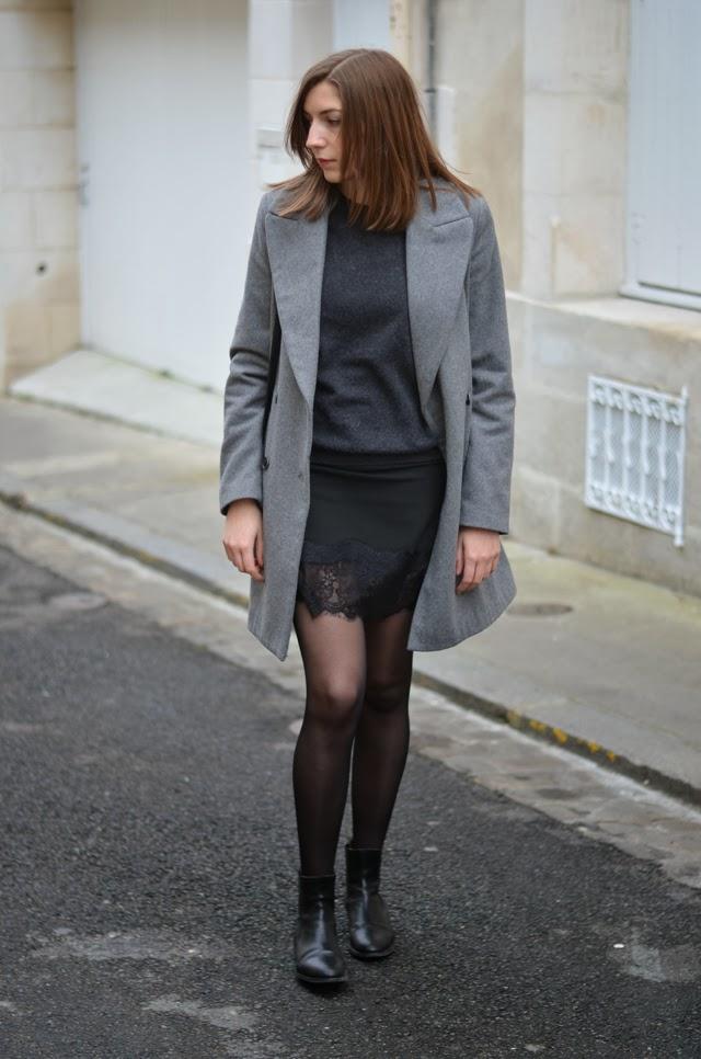 Jupe noire dentelle Zara