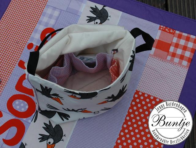 Geschenk Geburt Taufe Set Kuscheldecke Decke Krabbeldecke Baby Name Baumwolle Fleece nähen handmade Kinderwagentasche Schnullertäschchen Stilleinlagentäschchen Buntje lila orange