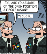 fort know cartoon panel, two officers with mirror-image uniforms