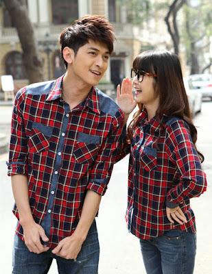 Desain Baju Couple Kemeja Kotak Kotak Lengan Panjang