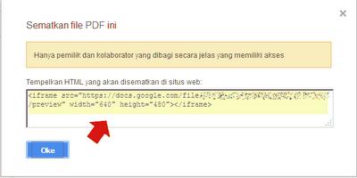 kode embed PDF file di Google Drive