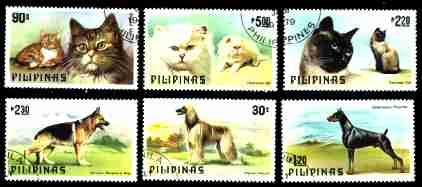 1979年フィリピン共和国 シェパード アフガン・ハウンド ドーベルマンと猫の切手
