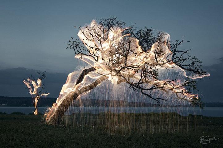 Energéticas pinturas de luz resaltan la innata belleza de la naturaleza