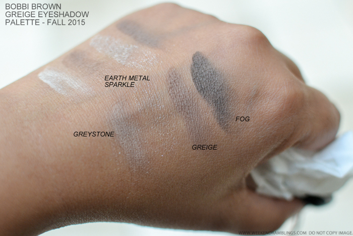 Bobbi Brown Greige Eyeshadows Palette Fall 2015 Makeup Collection Swatches Greystone Earth Metal Sparkle Greige Fog