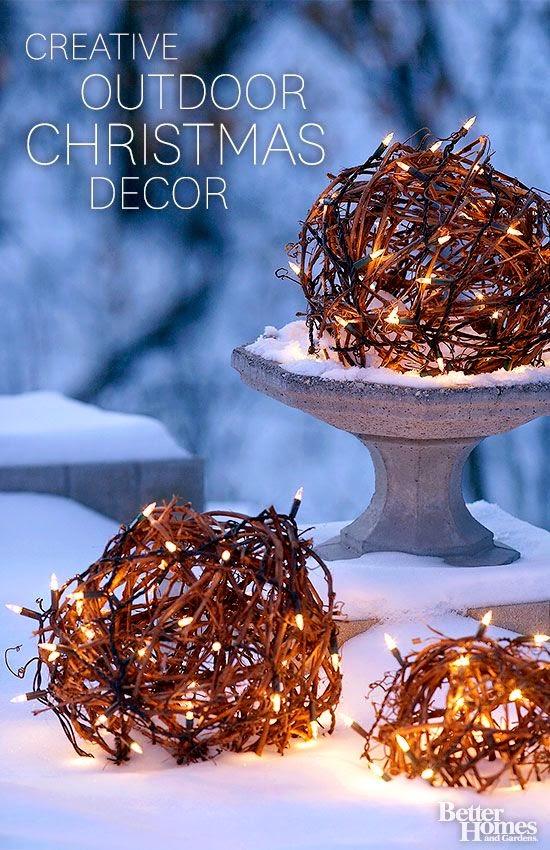natural Christmas, twig balls, outside decorations
