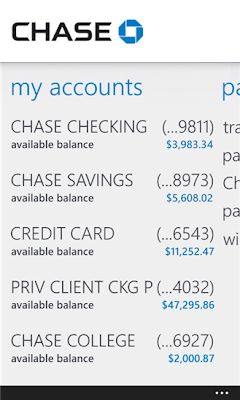 Chase Mobile windows phone app