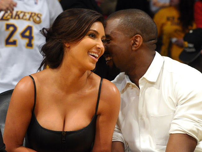 Kim Kardashian and Kanye West attend game 7 of NBAplayoffs 2012 in Los Angeles
