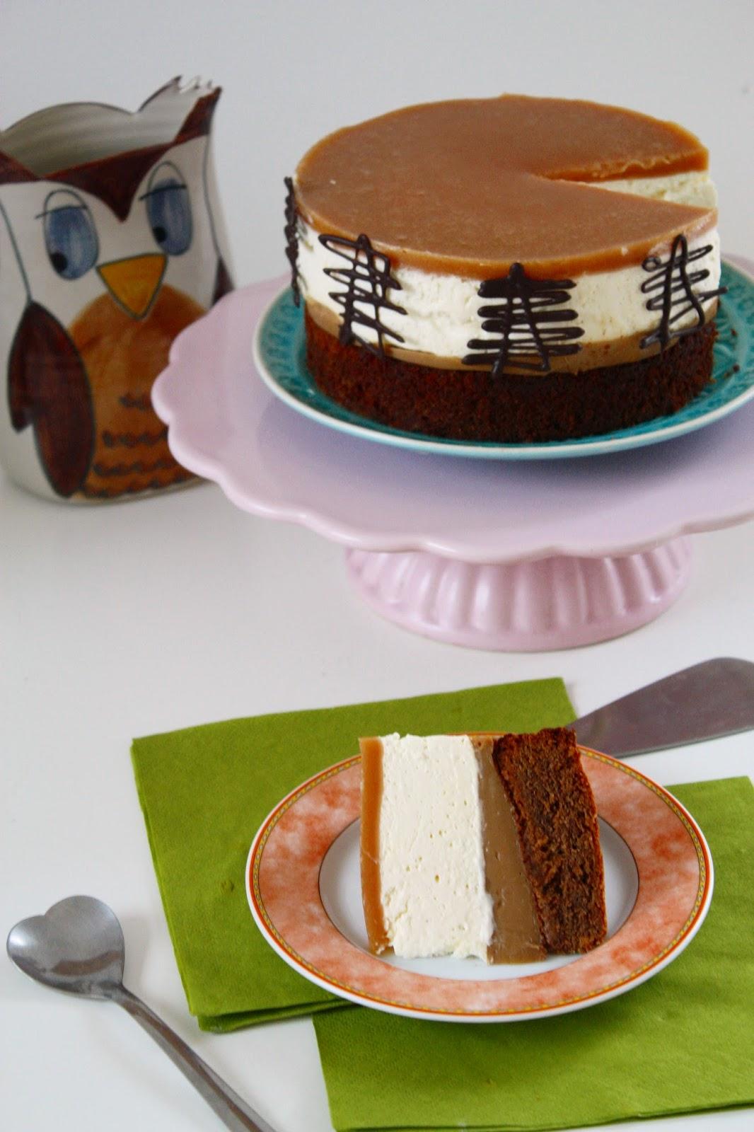 Nougat Brownie Salted Caramel Torte mit Frischkäsemousse