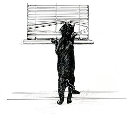 Illustration. Hunter looking outside.