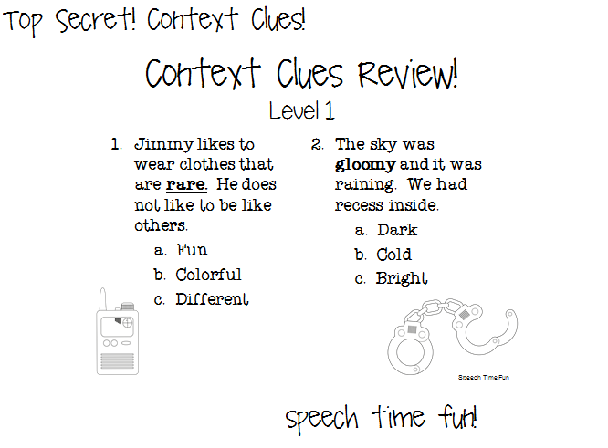 Context clues worksheets for first graders