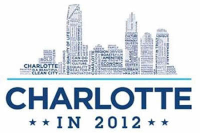"The skyline of Charlotte made up of words with ""Charlotte in 2012 and four stars underneath the skyline"