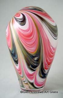 Pink purple white marbelized art glass vase