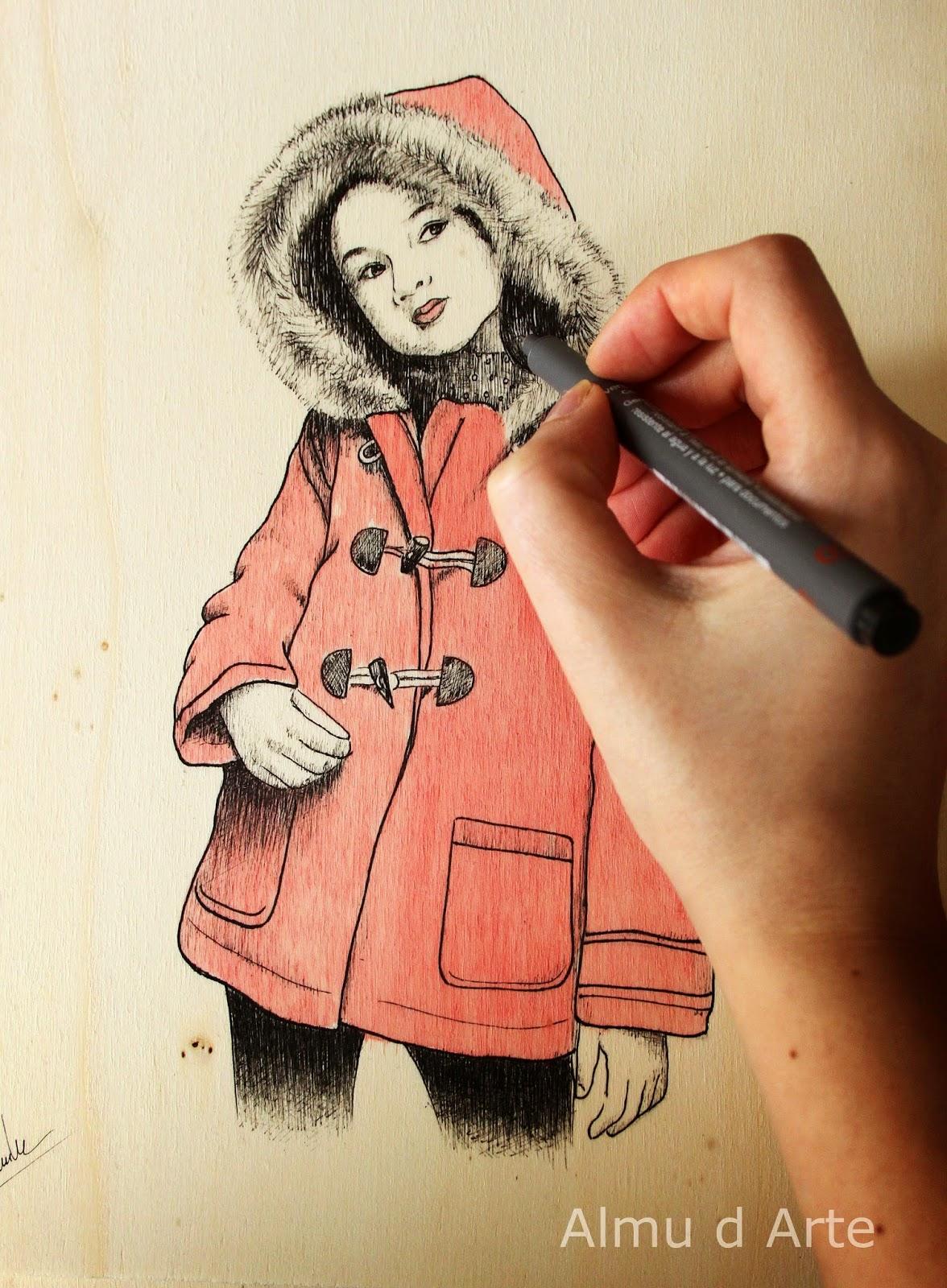 Retrato de niña con tinta y acuarela
