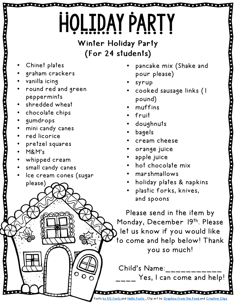 mandy s tips for teachers here is a sample letter of how we assigned and what we assigned for breakfast and gingerb houses