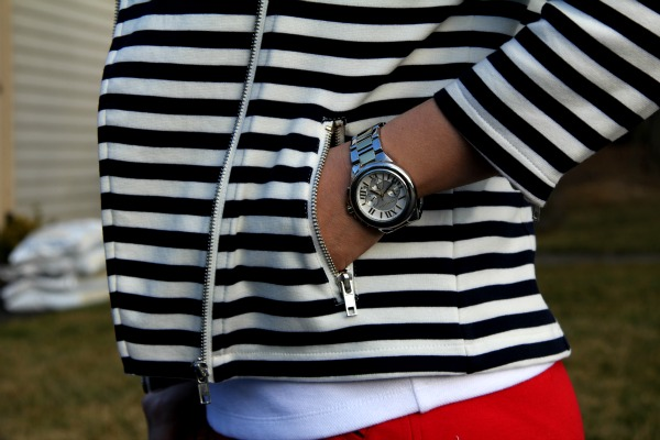 Striped Jacket from Forever 21, Silver and Golden Stainless Steel Camille Chronograph - Michael Kors