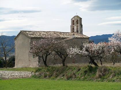 L'església de Santa Magdalena de l'Espelt envoltada de camps i ametllers florits