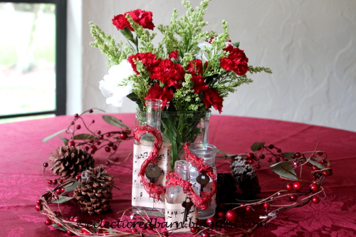 Eclectic Red Barn: Vignette of old bottles for Christmas